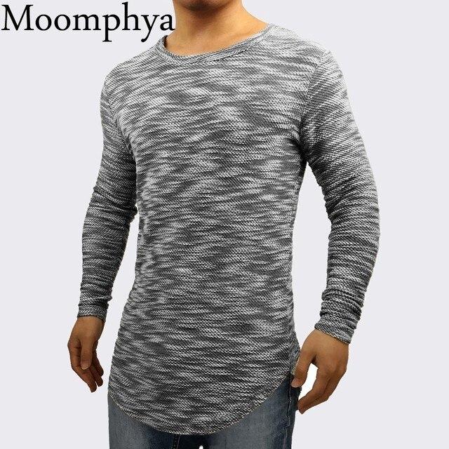 3508ca1ec Moomphya 2018 New Design Men long sleeve stylish t shirt Longline curve hem  Jacquard pattern wrinkles hip hop Slim Fit t-shirt