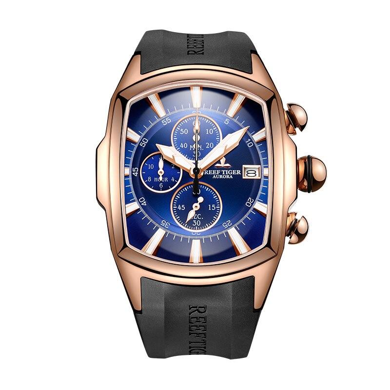 Récif tigre/RT Top marque montre de Sport de luxe pour hommes montres d'arrêt professionnel étanche Rose or bleu cadran montres RGA3069-T