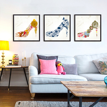 Abstract Flowers Shoes Canvas Painting Colorful Wall Decoration for Business Gift Canvas Art Prints Beautiful Shoes No Frame