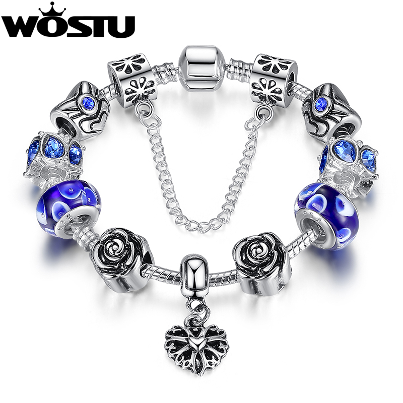 Hot Sale 4 Colors Silver Beads Heart Charm Strand Bracelet for Women Fine Jewelry Fit Original Bracelets Pulseira XCH1454