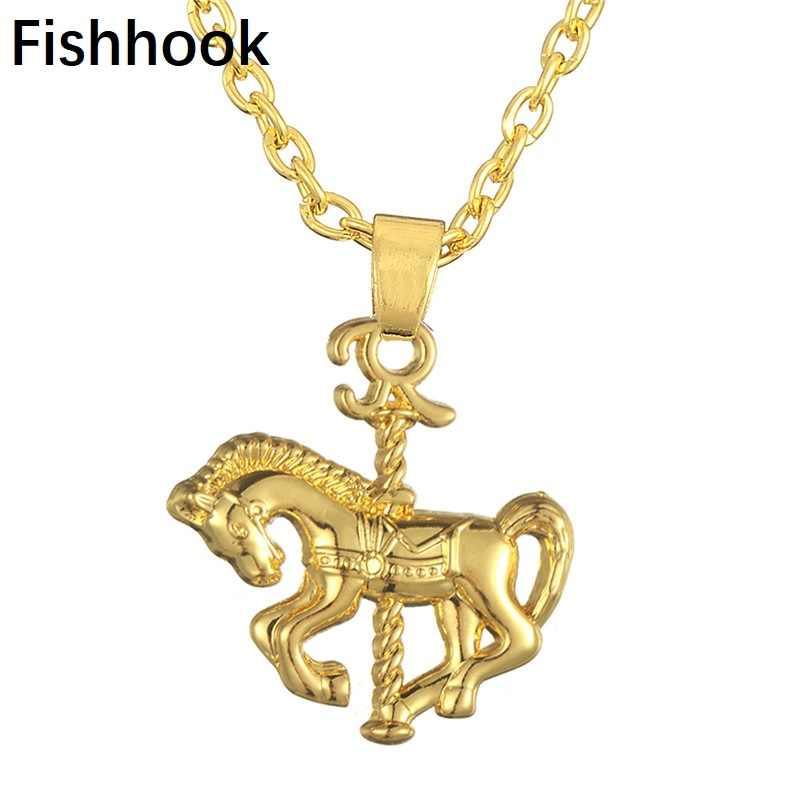 Haczyk wędkarski złoty/srebrny śliczny merry-go-round koń naszyjnik obecny dzieci dziewczyny moda biżuteria łańcuch ze stopu cynku dla kobiet