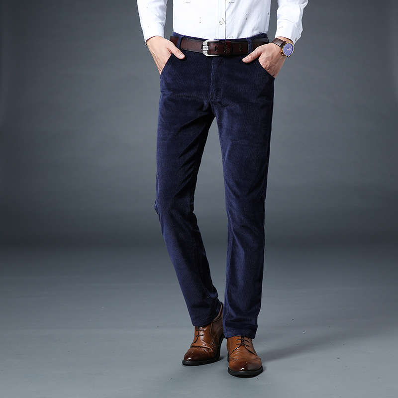 Fashion Autumn Winter   Jeans   Men Casual Business Style Classical Long Pants Hombre Corduroy Warm Trousers Slim Fit Thick Pantalon