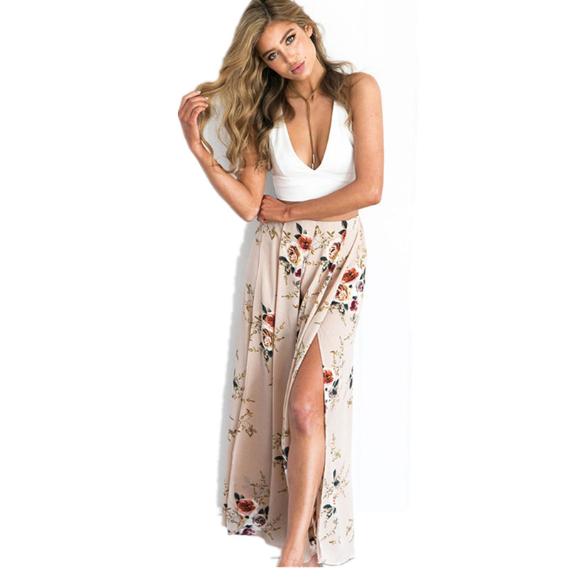 2017 Women Floral Casual Loose Pants Female Fashion Bottoms Summer & Spring Lady's Chiffon Beach Trousers AB322