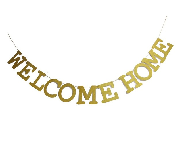 gold glitter welcome home banner military homecoming housewarming