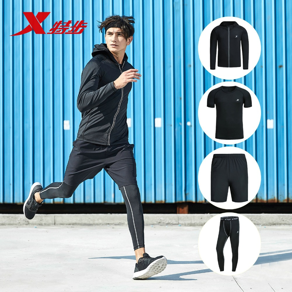 882129989302 Xtep для мужчин спортивная осень 2018 г. новый легкий спортивные бег набор для фитнес-тренировок топ и короткий комплект
