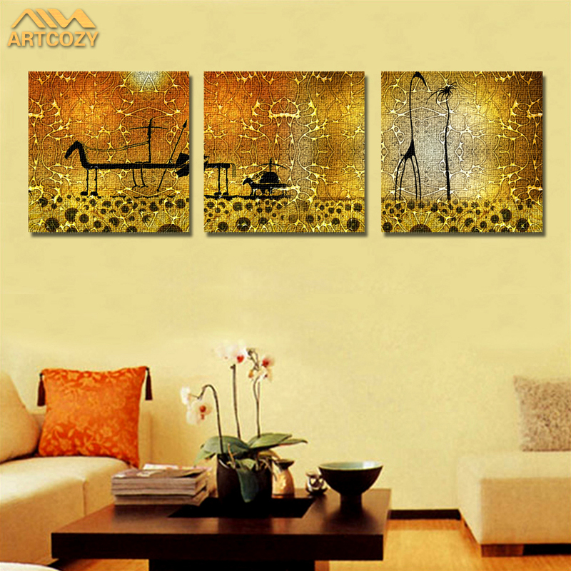 Artcozy 3 Panel Animal Painting Canvas Wall Art Picture Home ...