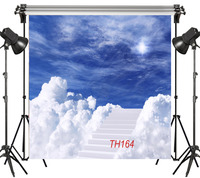 8x8FT Fairytale Blue Sky Ladder Made Of Clouds Child Seamless Washable No Folds Polyester Backdrop Background Photography Studio