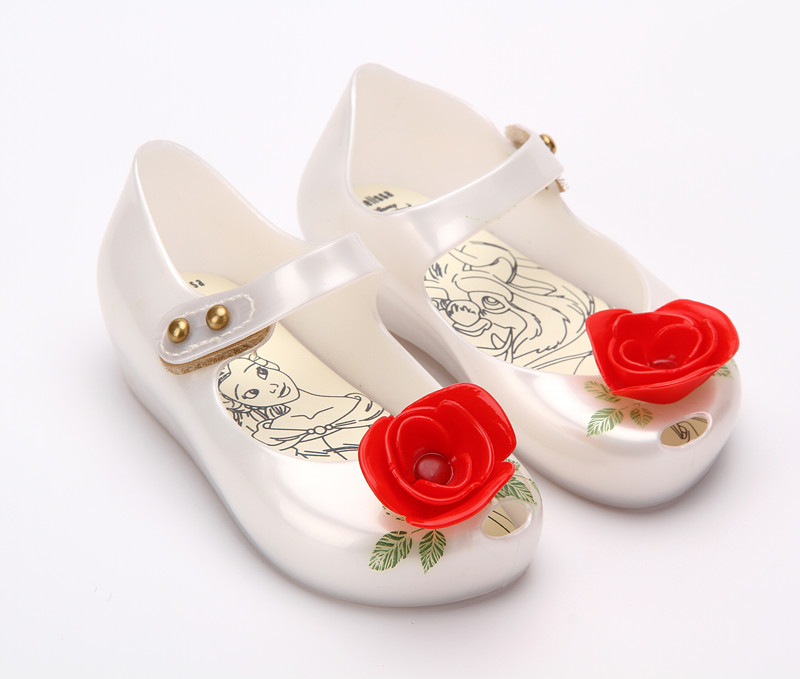Mini Melissa Beauty & Beast Rose Flowers Comfortable Breathable Jelly Sandals Girl Shoes Melissa Sandals Baby Girls Sandals