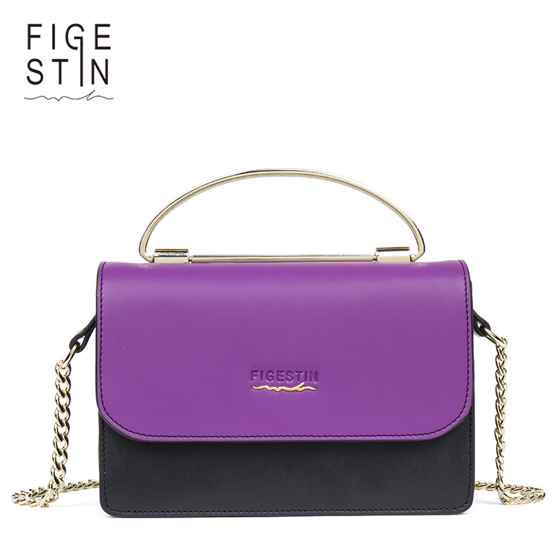 FIGESTIN Women Messenge Bag Handbag Small Panelled Split Leather Crossbody Bags For Girls Business Shoulder Bags Female Satchel купить