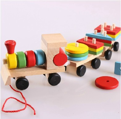 The Shape Of Three Section Blocks Cars Small Tractor Train