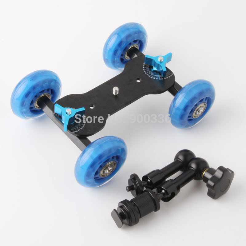 2ni1 New Mini Desktop Camera Rail Car Table Dolly Car +7Inch Articulating Magic Arm free shipping worldwide +tracking number
