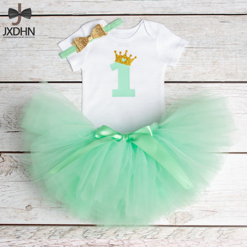 Little Baby Girl Clothing Sets One Year Birthday Party Costume Tutu Skirt Toddlers 3 Pcs Kid Outfits Headband+T-shirt+Tutu Skirt 1 year tutu baby girl clothing sets infant romper tulle skirt headband kids party costume bebes one birthday outfits vestidos