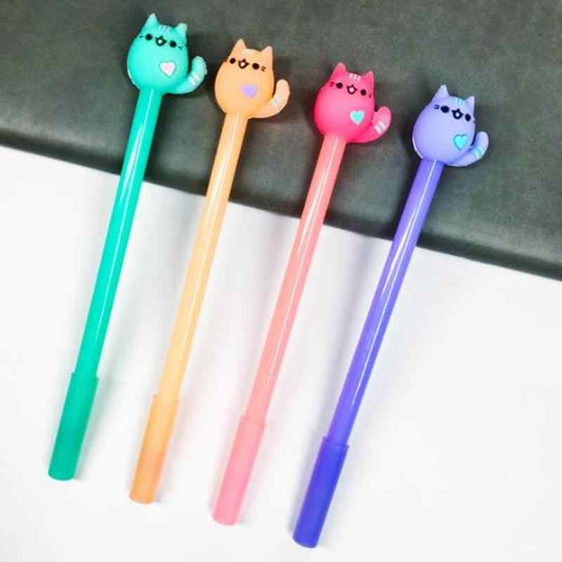 1 pcs Kat Gel Pen Kawaii Briefpapier Leuke Pennen 0.5mm Student Zwarte Gel Pennen Nieuwigheid Cartoon Leuke Pen Kawaii schoolbenodigdheden