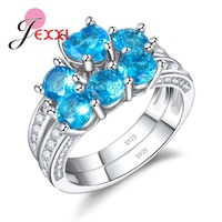 JEXXI Hot Sale 925 Sterling Silver Promise Rings Shiny Blue Cubic Zircon Crystal Set Ring Excellent