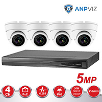 4CH 5MP POE CCTV Video NVR System 4PCS 5MP POE IP Camera Outdoor Weatherproof Home Security Surveillance Kits