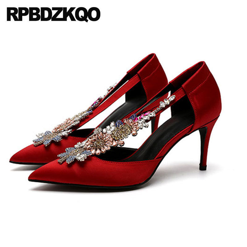 Crystal Wedding Shoes Ladies Bride 8cm Scarpin Pointed Toe Cross Strap High Heels Pumps Flower Red Rhinestone Diamond Satin luxury red satin high heel pumps pointed toe crystal ankle strap wedding dress shoes thin heels cut out rhinestone sandals
