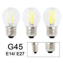 Ретро G45 светодиодный типа «Свеча»), 2 Вт, 4 Вт, 6 Вт, регулируемая яркость, светильник лампочка E27 E14 COB 220V Стекло оболочки лампа в винтажном стиле