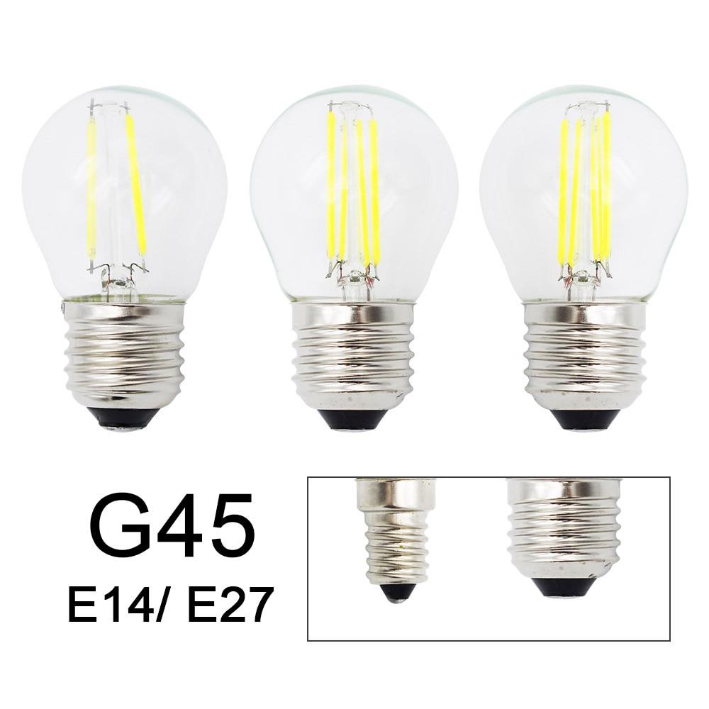 Ретро G45 светодиодный 2 Вт 4 Вт 6 Вт диммируемая лампа накаливания E27 E14 COB 220 В стеклянная лампа в винтажном стиле