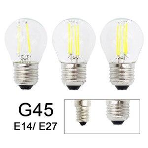 Retro G45 LED 2W 4W 6W Dimmable Filament Light Bulb E27 E14 COB 220V Glass shell Vintage Style Lamp(China)