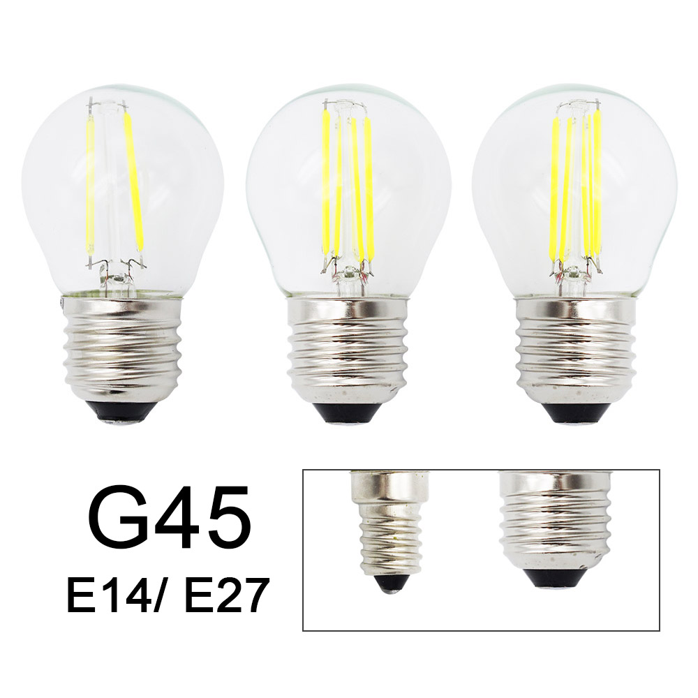 Retro G45 LED 2W 4W 6W Dimmable Filament Light Bulb E27 E14 COB 220V Glass Shell Vintage Style Lamp