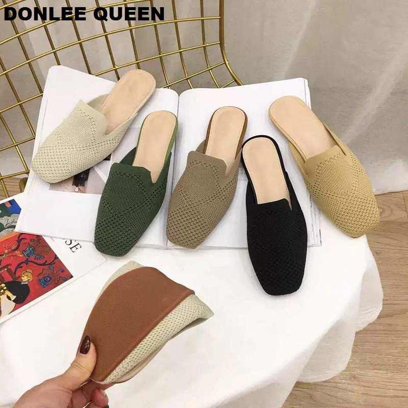 DONLEE QUEEN Women Slippers Slip On Casual Mules Quality Breathable Mesh Comfortable Flat Heel Spring Summer Leisure Shoes Mujer