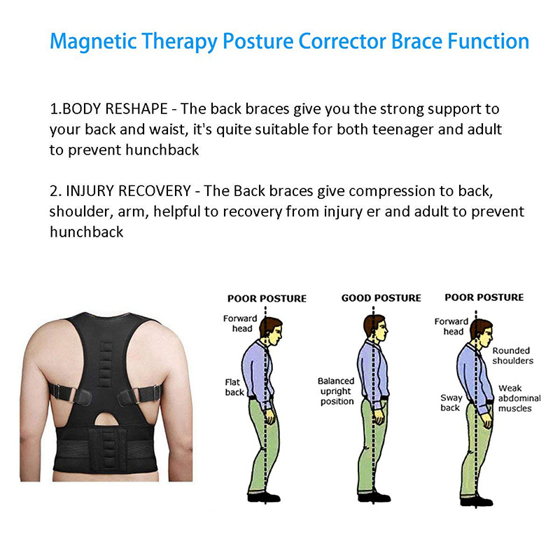 Posture Corrector Back Brace Shoulder Back Support Belt Shoulder Posture Adjust magnetic therapy for Unisex 3