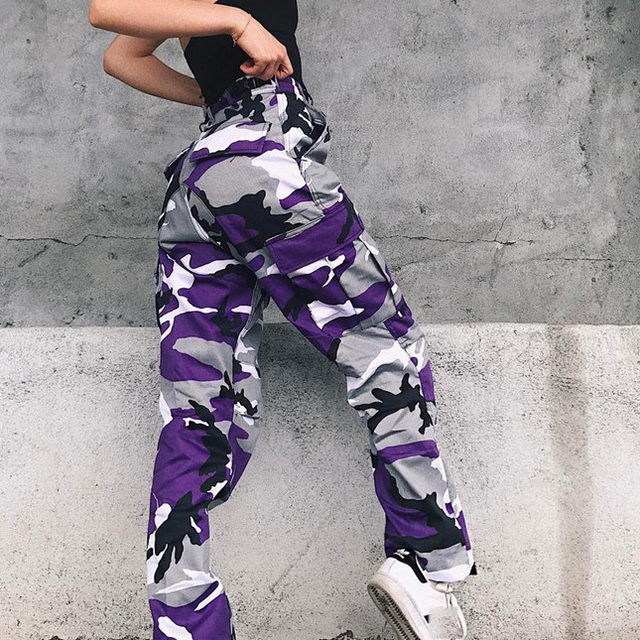Hosen Military Hosen Weibliche Camouflage Jogger Beiläufigen Frauen Camo Cargo Hose Hohe Taille Military Armee Kampf Jeans