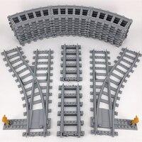 KAZI Train Track Building Bricks Plastic Rail Track For Train Straight Curved Furcal Soft Educational Toys