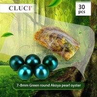 CLUCI Бесплатная доставка 30 шт. 7 8 мм Зеленый akoya устрицы с жемчугом, яркие красочные круглые бусины для изготовления ювелирных изделий