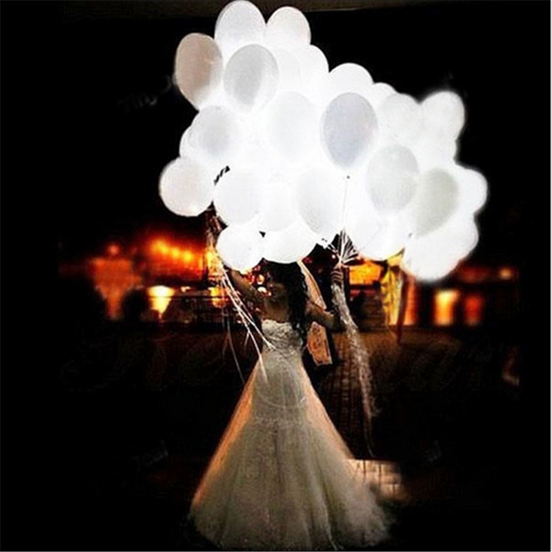 10 pcs White Led Flash Balloons Illuminated LED Ballon Glow In The Dark Sky Lanterns Birthday Wedding Decoration JS0307