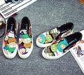 El envío libre 2016 nueva primavera de la moda de las mujeres zapatos mocasines de lona pintada de la historieta de las mujeres de plataforma femenina zapatos casuales