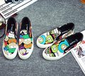 Free shipping 2016 new fashion spring women shoes loafers canvas female platform graffiti cartoon women casual shoes