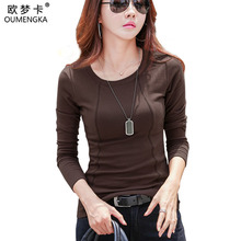 New 2018 Autumn Fashion Warm Cotton Tops For Women Casual Long Sleeve Elasticity T-shirts Black White Brown Gray Color 3XL