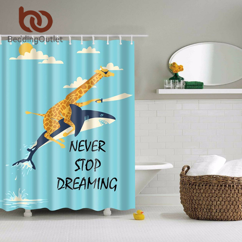 Beddingoutlet jungle giraffe ride shark shower curtain for Kids shower curtain sets