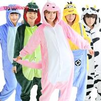 VEVEFHUANG Winter Adult Flannel Giraffe Panda Unicorn Pajamas Onesie Cosplay Costume Cartoon Animal Sleepwear For Women
