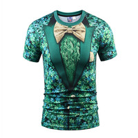 2018 Latest Fake Two Pieces Style T Shirt Men Women Tees Summer Tops Print Suit Tops
