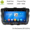 ROM 16G 1024*600 Quad Core Android 5.1.1 Fit KIA SORENTO 2013 2014 Car DVD Player GPS de Navegação 3G de Rádio