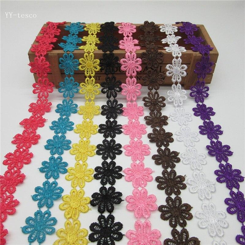 Новый 2 ярдов красочные Изысканные цветы ромашка кружевная отделка из полиэстера вышитые кружево лента для Вышивание Craft Свадебные Diy