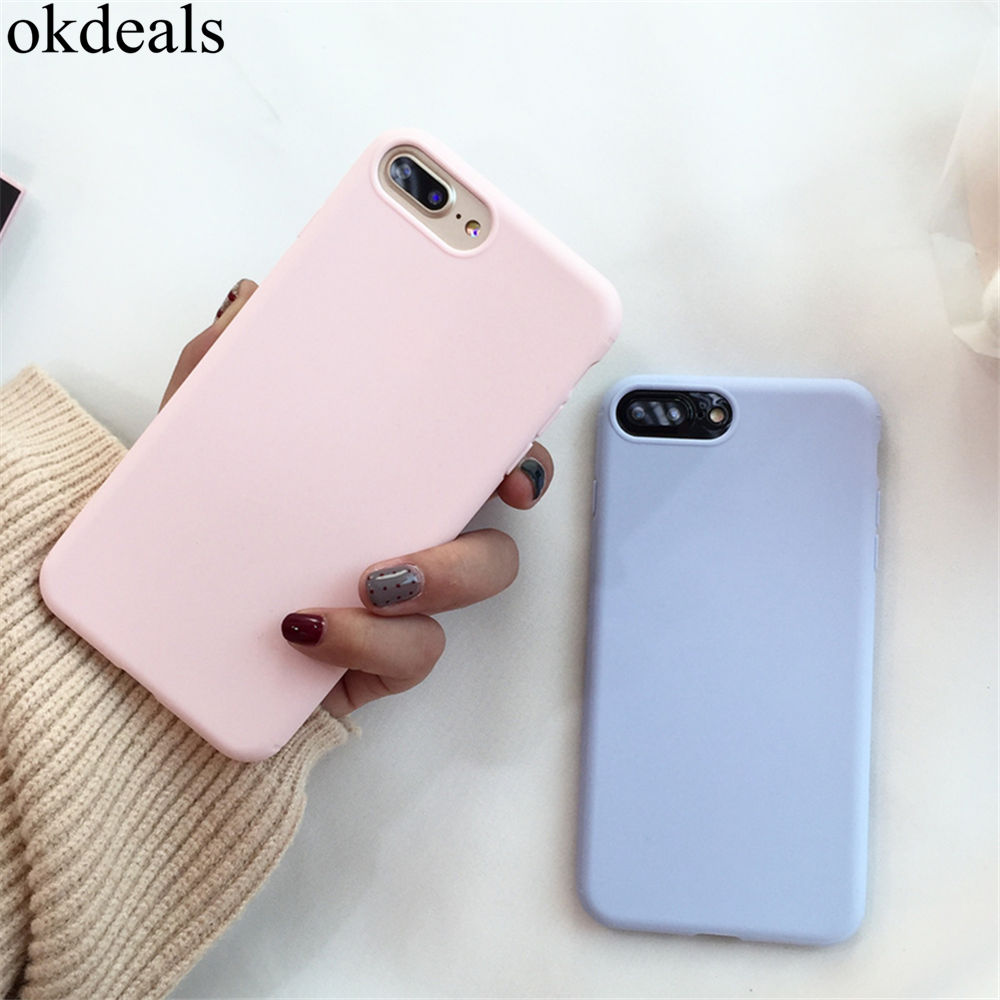 For Iphone 7 7 Plus Case Simple lovely candy solid color pink blue soft TPU phone cases for iphone X 6 6s 8 Plus case Back Cover