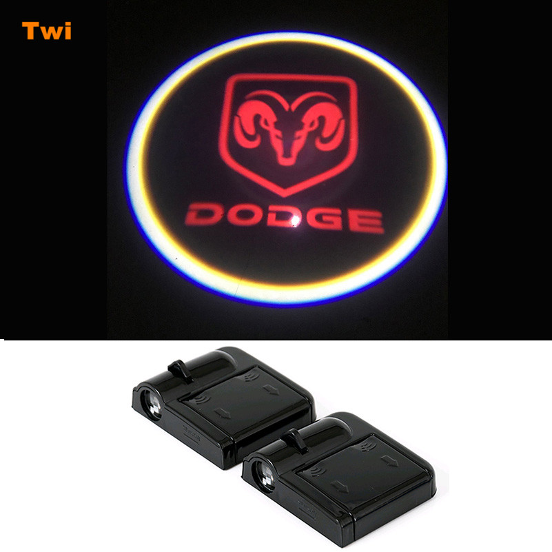 2X Car Logo Door Light For <font><b>Dodge</b></font> <font><b>Ram</b></font> <font><b>1500</b></font> Caliber Caravan Charger Journey Challenger Stratus Neon Nitro Durango Dakota Magnum