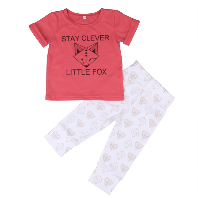 Infant Kids Baby Girls Outfits Short Sleeve Shirt Tops Floral Print Long Pants Clothes Cotton Soft Casual Cute 2PCS Casual Set