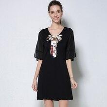 2017 Summer Women Cotton Plus Size Dresses Elegant Black Short Sleeve Bandage Casual Lady Dress Large Size Woman Clothing M-5XL