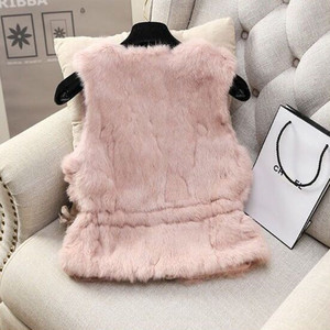 Image 2 - MUMUZI ผู้หญิงของแท้กระต่ายจริงขนเสื้อ Slim เอวลูกปัดเสื้อกั๊กสั้น GILET เสื้อโค้ทกับ Tassels Raccoon FUR COLLAR