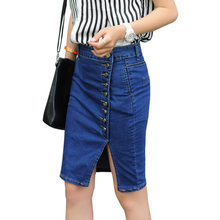2016 Summer Women's OL Jeans Skirt Formal Office Ladies Stretch Denim Skirts S-2XL Jupe Femme Saias