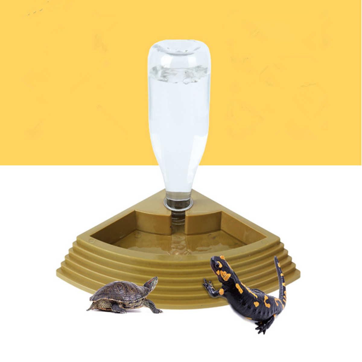 สัตว์เลี้ยงเต่าน้ำดื่มจานชามเต่าสัตว์เลื้อยคลานแมวสุนัขหม้ออุปกรณ์สีดำ 450 มิลลิลิตร