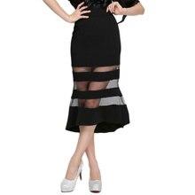 Fashion Mermaid Slim Long Black Tulle Skirt Womens Jupe Longue Vintage Femme High Waist Pencil Skirts 2019 Gonne Donna