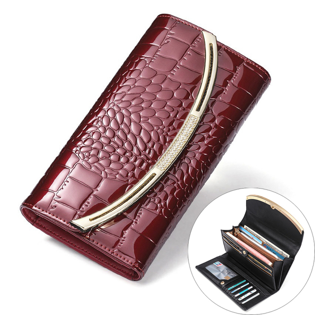 Large Capacity Genuine Leather Women's Wallets Fashion Patent Leather Wallet Female Luxury Clutch Ladies 3 Fold Cowhide Wallet