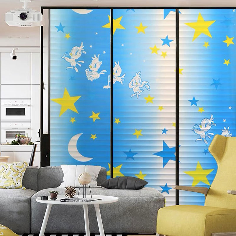 Stained Privacy Window film sticker bird Opaque blue blinds Glass Sticker kid 39 s room self adhesive film Home Decorative 60x200cm in Decorative Films from Home amp Garden