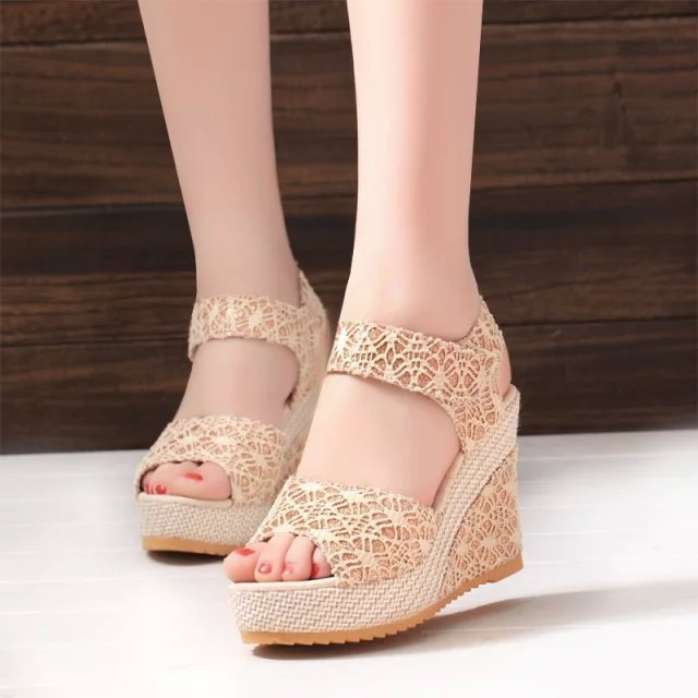 Women Summer New Open Toe Fish Head Fashion High Heels Wedge Sandals platform with lace slope thick bottom shoes Baok-3376 slope with super high heels 14cm platform shoes sandals and slippers spring and summer fish head thick crust waterproof shoes