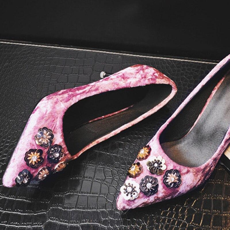 Green Terciopelo Puntiagudo Swb0050 Del Oficina Alto black pink Elegante Tacón Zapatos De Señoras Dedo Pie Rosa Flor Las Mujeres aA5SZ0x